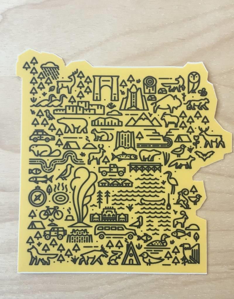 Fell Sticker- Map Of Yellowstone