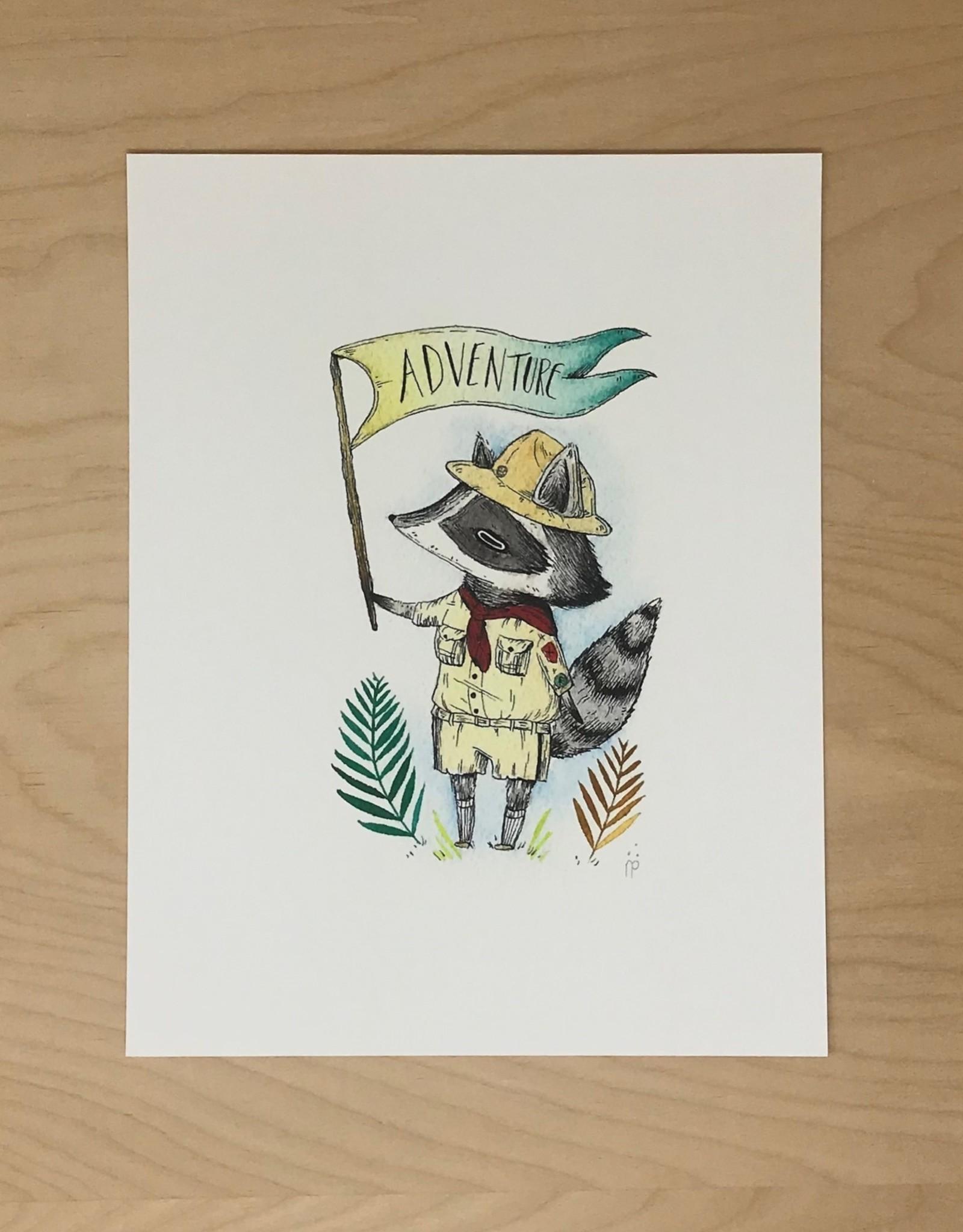 Marika Paz Illustrations Print- The Adventurous Raccoon