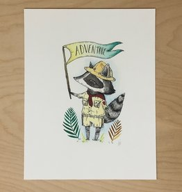 Marika Paz Illustrations Print- The Adventurous Raccoon