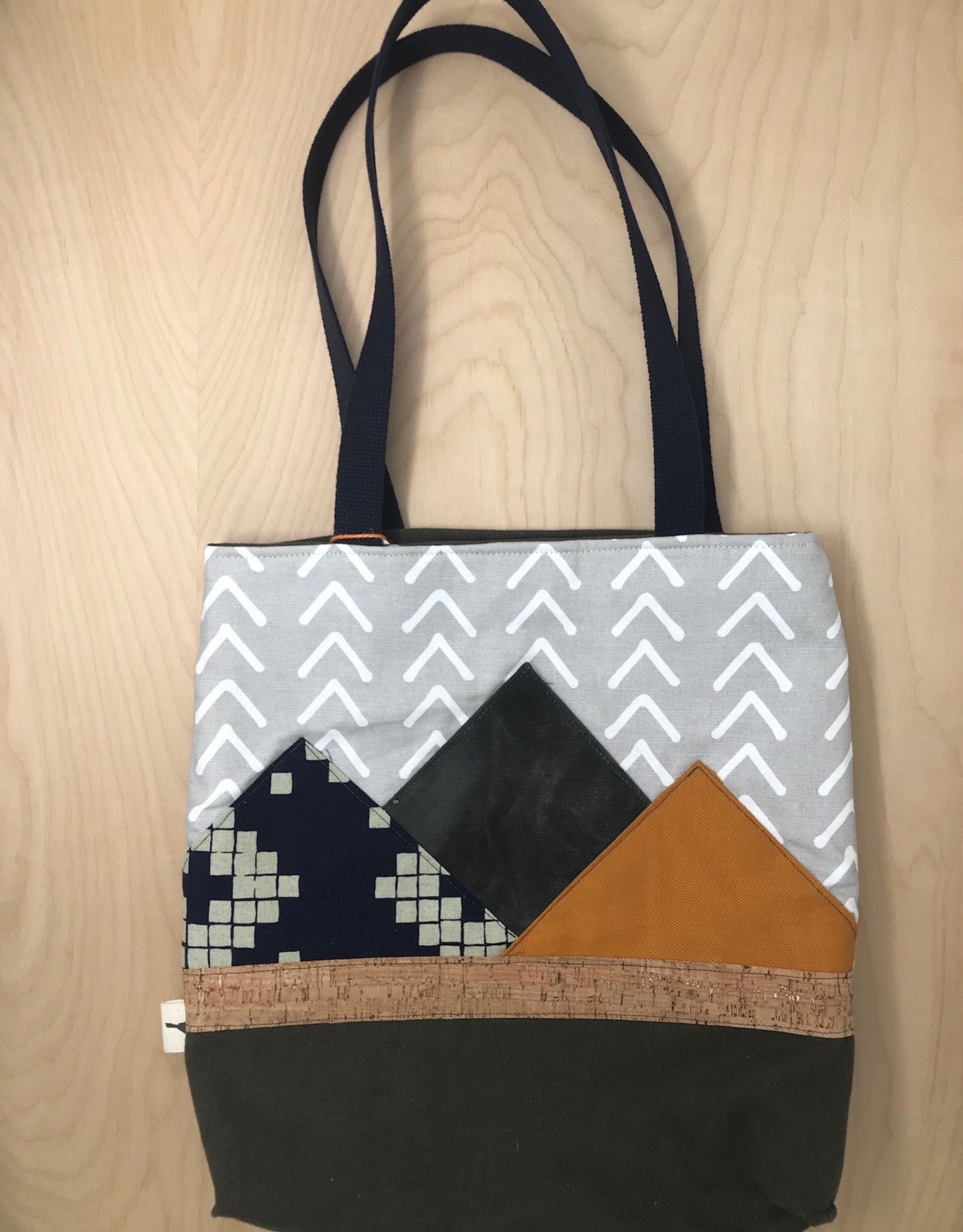 Sparrow Design Studio Tote- Mountains Are Home, Grey Chevron