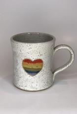 BARBARAH ROBERTSON POTTERY Mug- Rainbow Heart