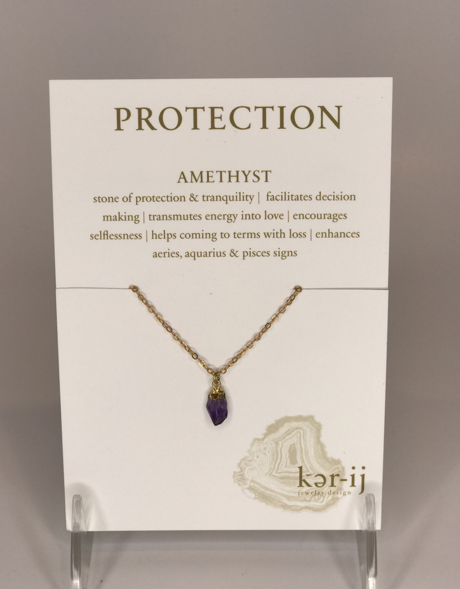 Ker-ij Jewelry Necklace- Protection Stone Amethyst