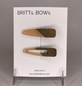 BRITTs BOWs Hair Clips- Wood, Peach
