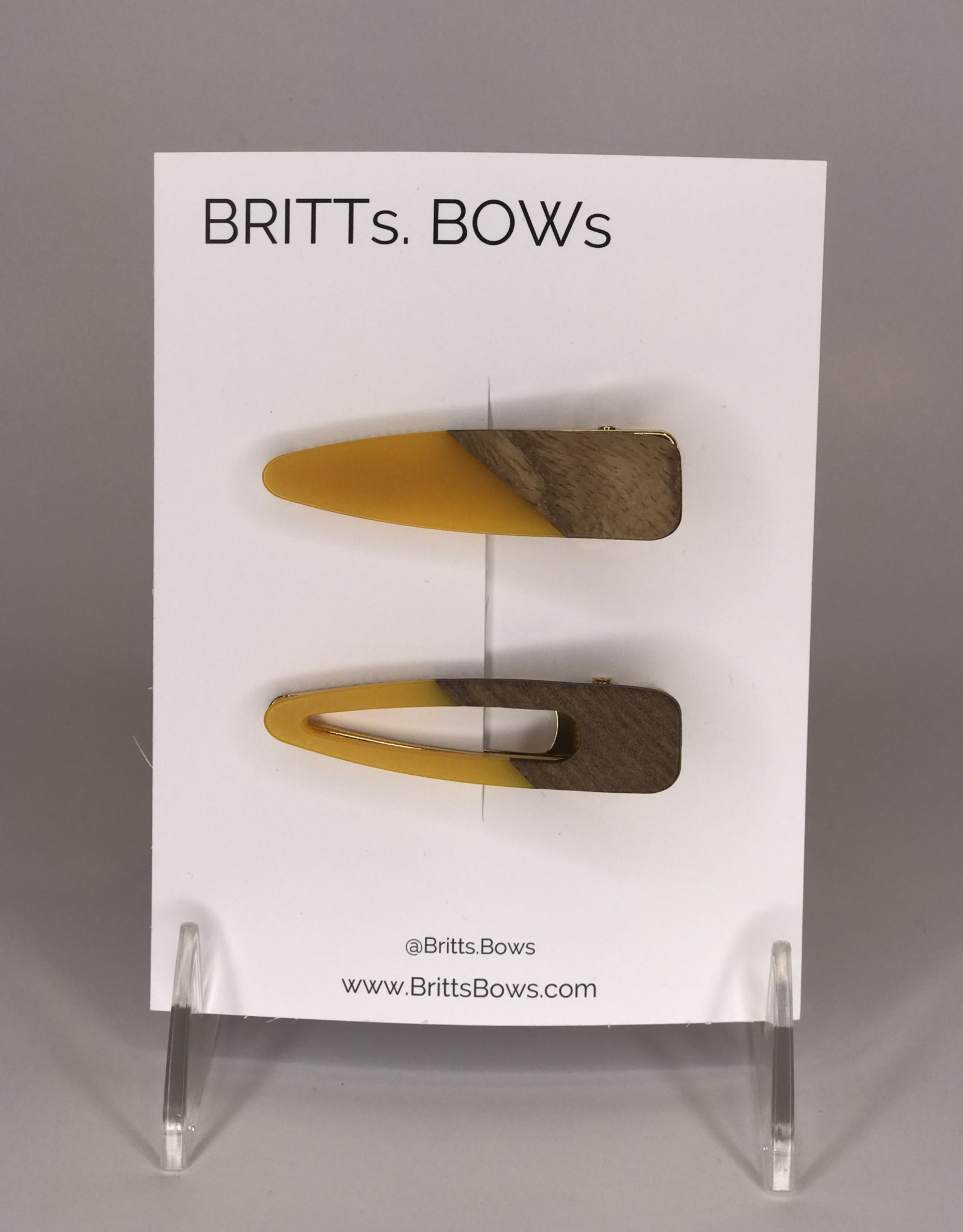 BRITTs BOWs Hair Clips- Wood, Yellow