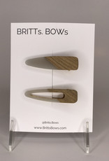 BRITTs BOWs Hair Clips- Wood, Blue