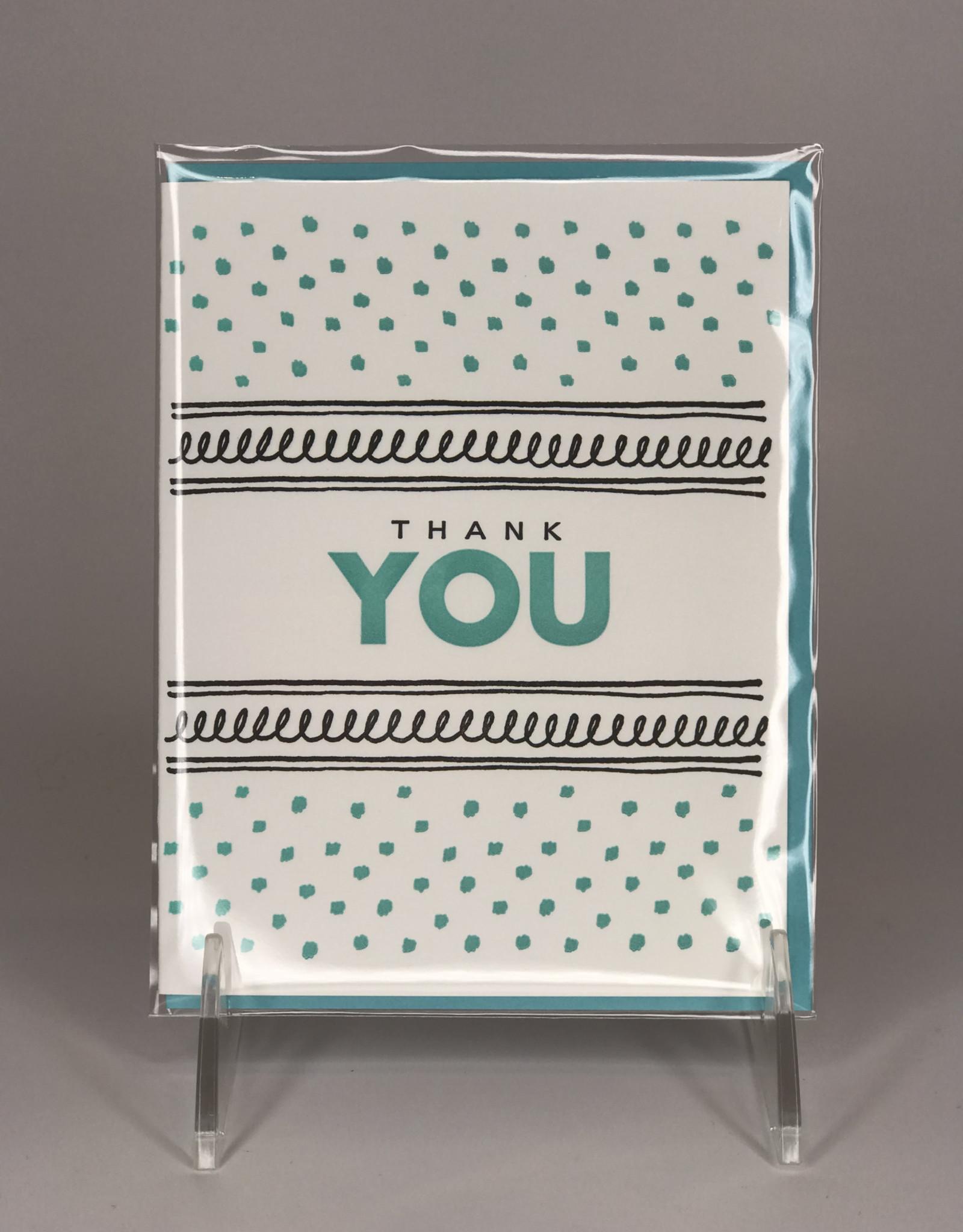 Lucky Bee Press Card- Thank You, Fancy Blue