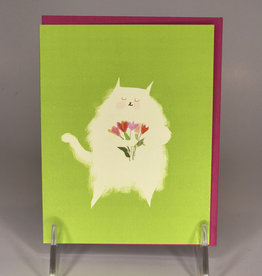 Card- White Fluff with Tulips Cat