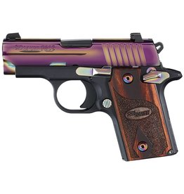 "Sig Sauer Micro-Compact Rainbow *MA Compliant* Single 380 Automatic Colt Pistol (ACP) 2.7"" 6+1 Rosewood Grip Rainbow Titanium PVD Stainless Steel"