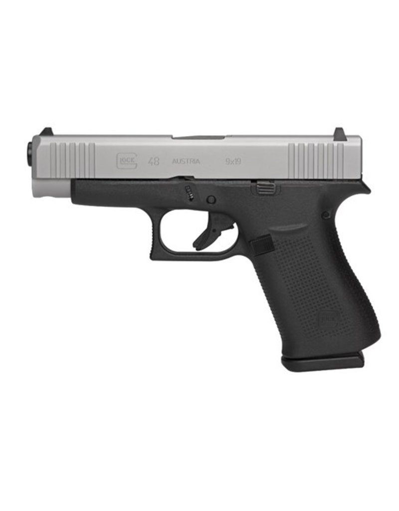 "Glock Compact 9mm Luger Double 4.17"" Fixed 10+1 Black Polymer Grip/Frame Silver PVD Slide"