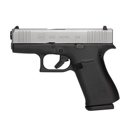 "Glock Subcompact 9mm Luger Double 3.41"" Fixed 10+1 Black Polymer Grip/Frame Silver PVD Slide"