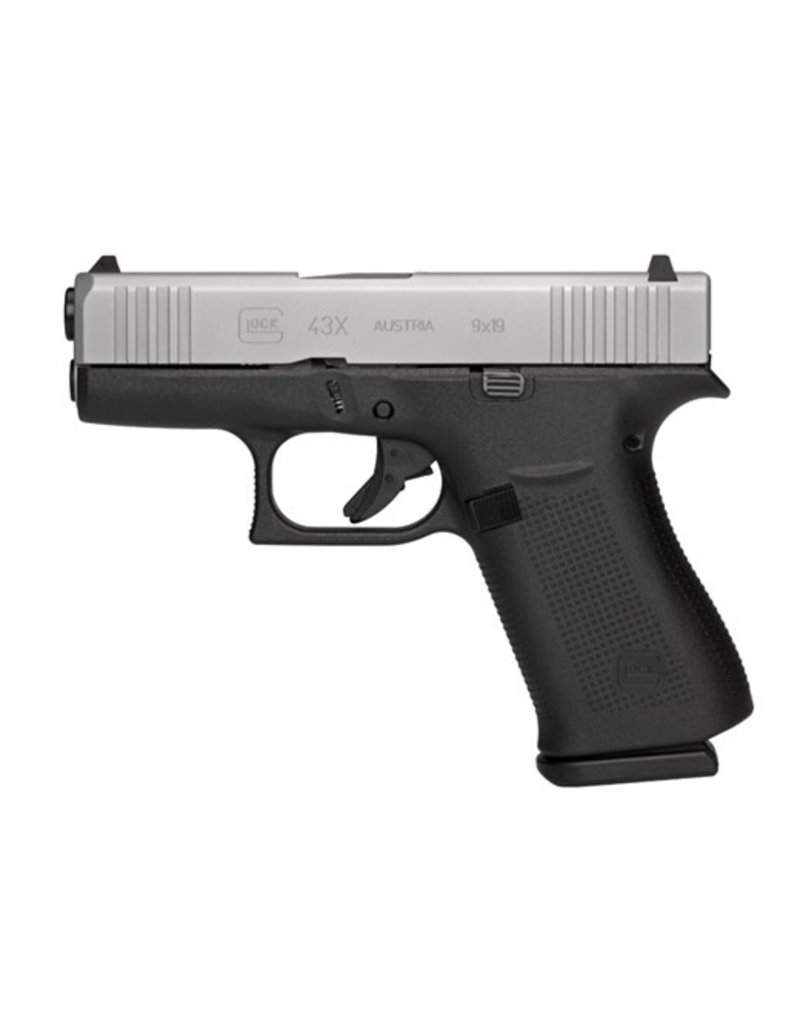 """Glock Subcompact 9mm Luger Double 3.41"""" Fixed 10+1 Black Polymer Grip/Frame Silver PVD Slide"""