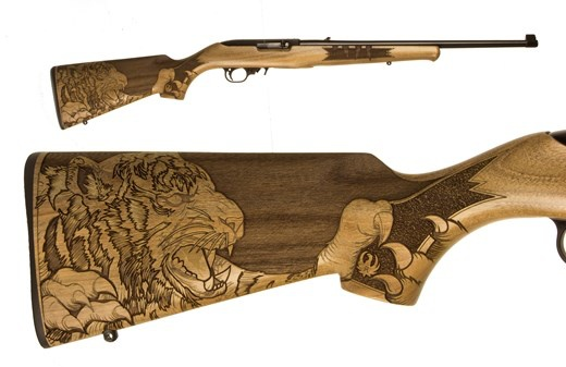 RUGER 10/22 TIGER 22LR BL/WD 18&quot;<br /> 21146 ENGRAVED TIGER STOCK<br /> 22 LR