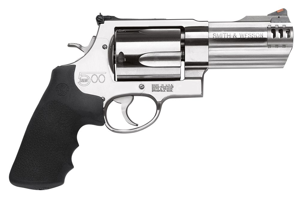"""Smith & Wesson 500 Standard Stainless Single/Double 500 Smith & Wesson 4"""" 5 Black Synthetic Stainless"""
