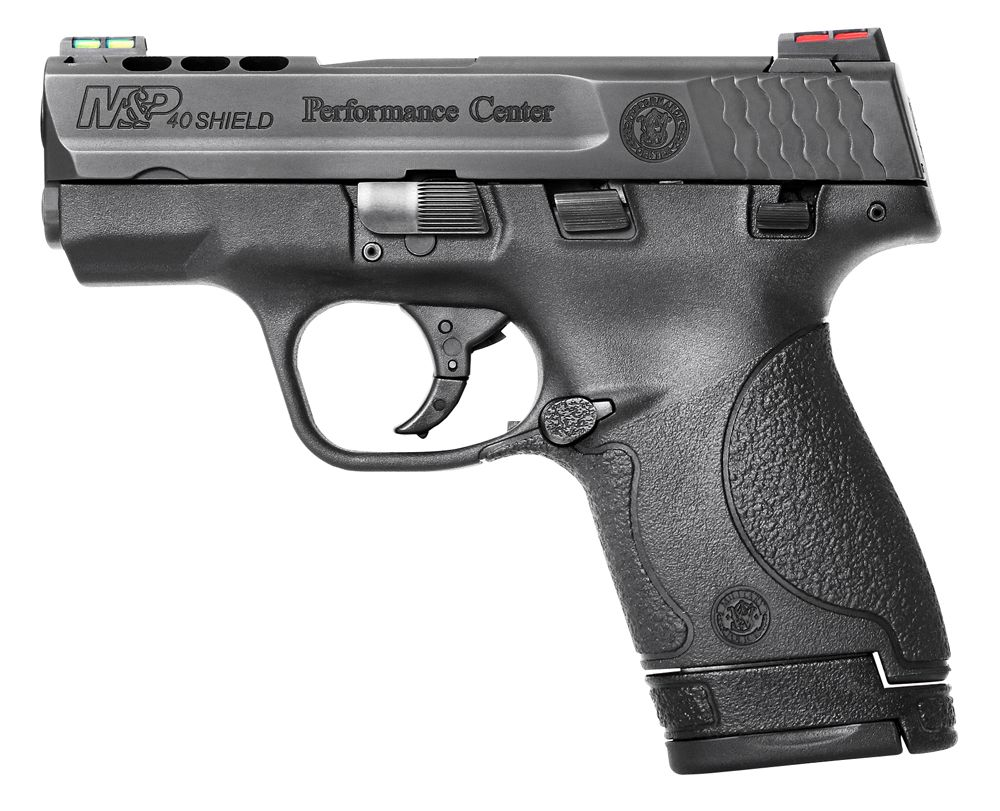 "Smith & Wesson 40 Smith & Wesson (S&W) 3.1"" Ported 6+1/7+1 (Grip Extension) Black Polymer Grip Black Stainless Steel"