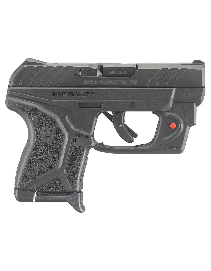 """RUGER LCP II with Viridian Red Laser Single/Double 380 Automatic Colt Pistol (ACP) 2.75"""" 6+1 Black Polymer Grip Blued"""