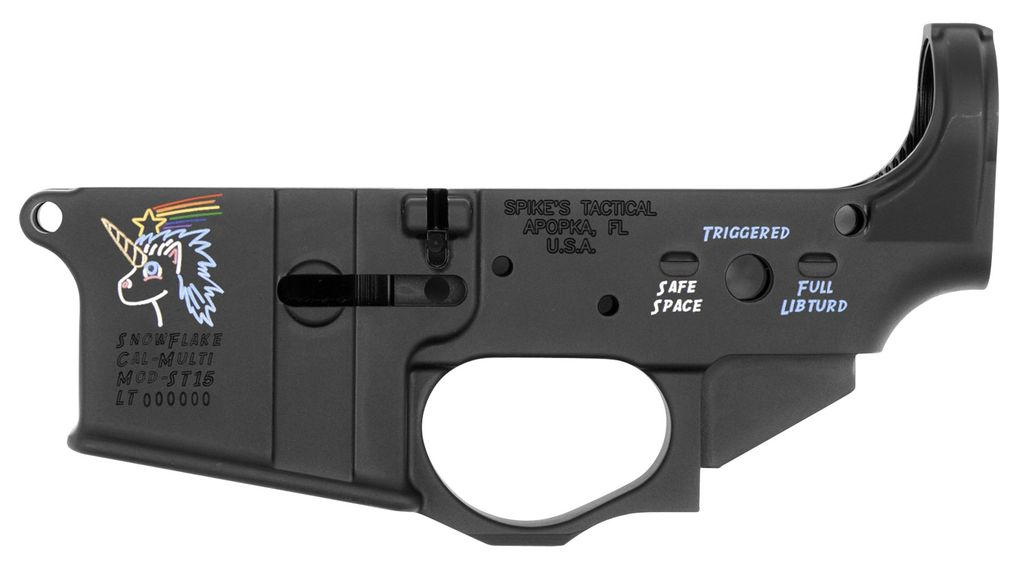 Spikes Tactical Lower Snowflake with Color Fill AR Platform Multi-Caliber Black Hardcoat Anodized