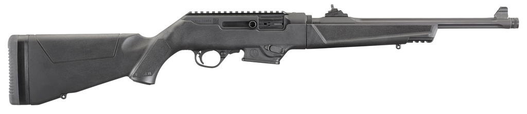 """RUGER PC Carbine Semi-Automatic 9mm Luger 16.12"""" TB 17+1 Synthetic Black Stk Black Hard Coat Anodized"""