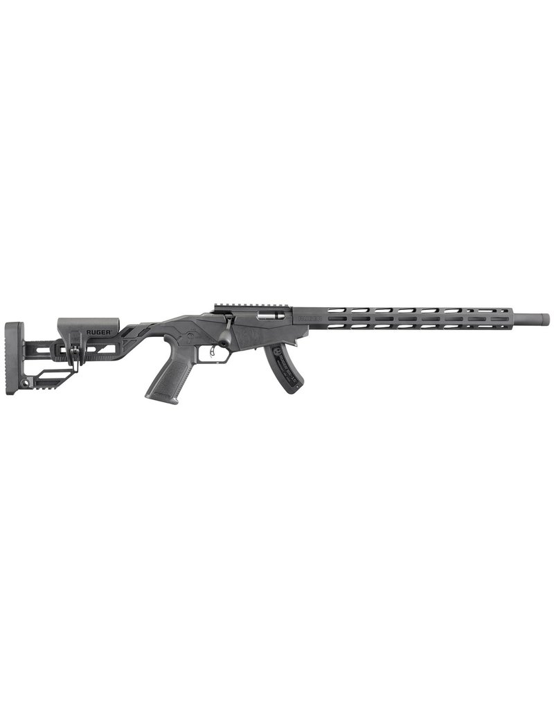 "RUGER Semi-Automatic 22 Long Rifle (LR) 18"" TB 15+1 Synthetic Adjustable/Aluminum Chassis Black Stk Black Hard Coat Anodized"