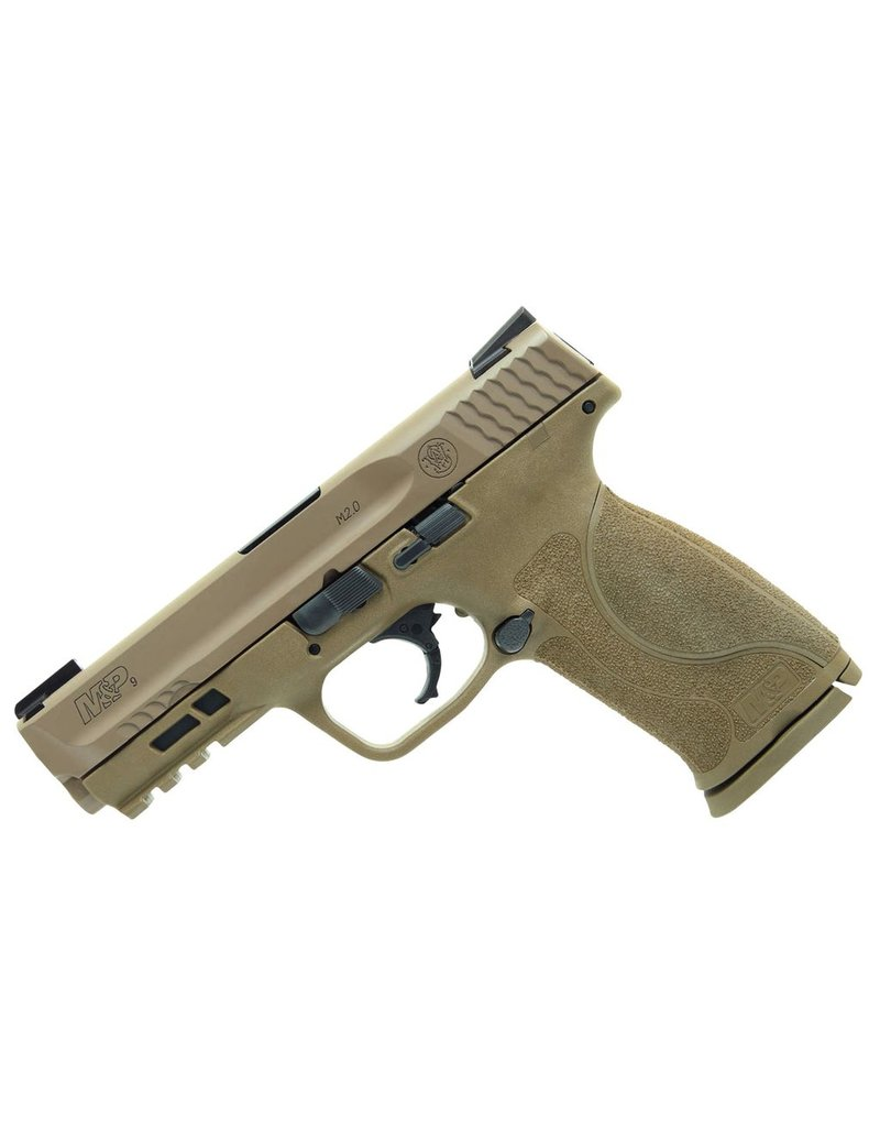"Smith & Wesson M2.0 Double 9mm Luger 4.25"" 17+1 Flat Dark Earth Interchangeable Backstrap Grip Flat Dark Earth Armornite Stainless Steel"