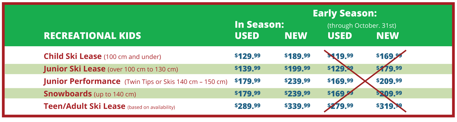 Seasonal Lease and Jr Trade In Program Pricing