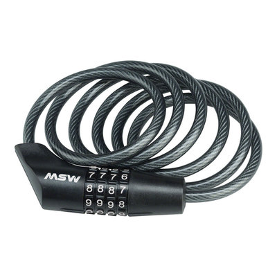 MSW CLK-108 Combination Cable Lock, 8mm x 5', Black