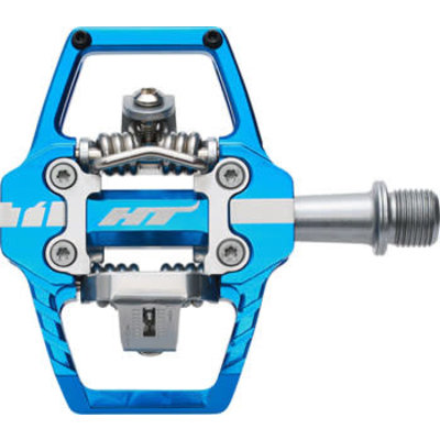 """HT T1 Enduro Race Pedals - Dual Sided Clipless with Platform, Aluminum, 9/16"""", Marine Blue"""
