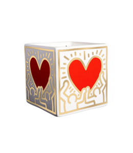 Keith Haring Red & Gold Heart Square Candle 250g
