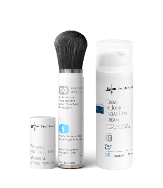 Pro-Derm Facial Day Cream SPF 20 + Mineral Loose Powder SPF 50 bundle (dark)