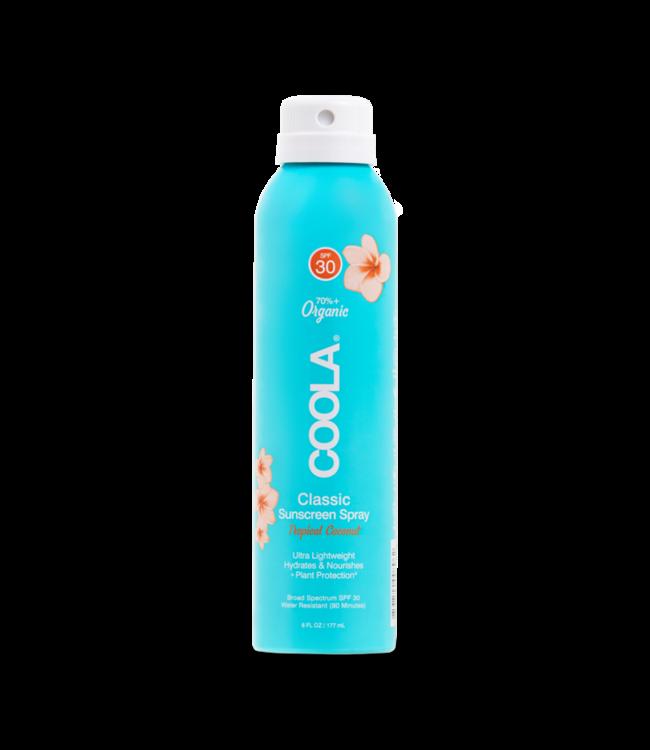 COOLA Écran solaire pour le corps en vaporisateur FPS 30 Noix de Coco Tropicale (177ml/6oz)