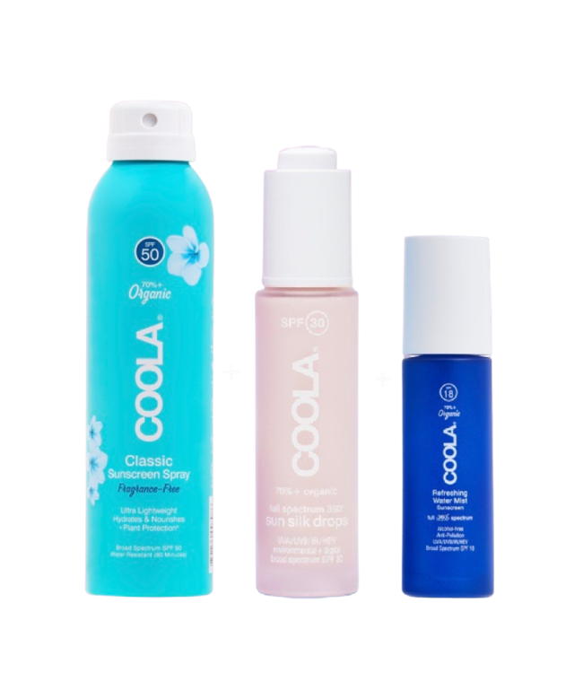 COOLA Trio de Vacances (Sun Silk Drops 30mL. + Water Mist 25mL. + Fragrance-Free Spray 2oz.)