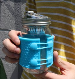 Mason Jar with Sleeve and Metal Drink Lid