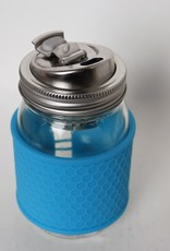Mason Jar with Sleeve and Metal Drink Lid