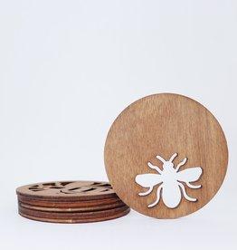 Circular Honeybee Coaster, Set of 6