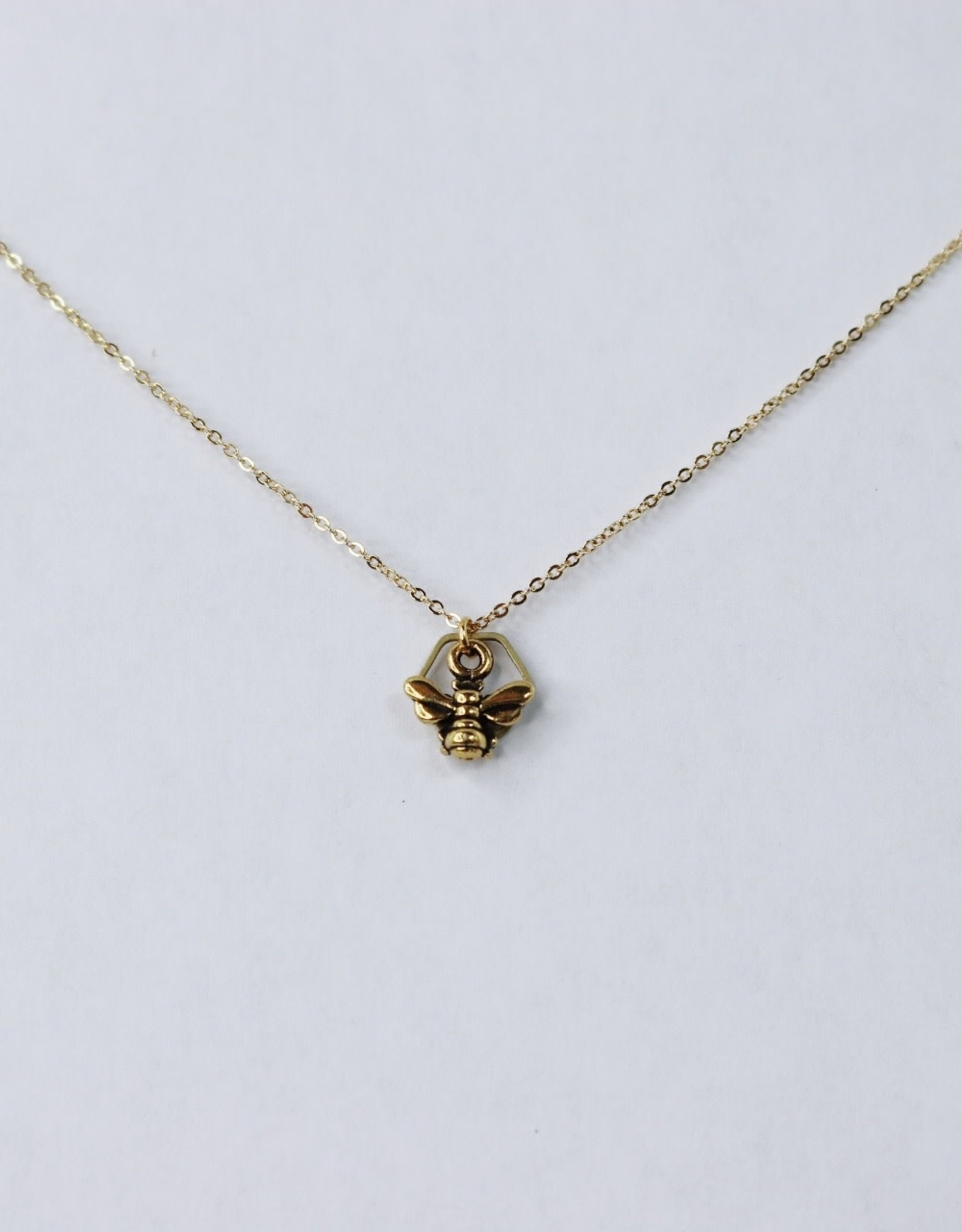 Honeybee & Hexagon Brass Necklace