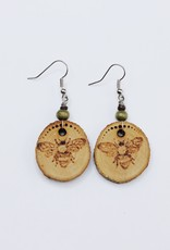 Wooden Bee Earrings
