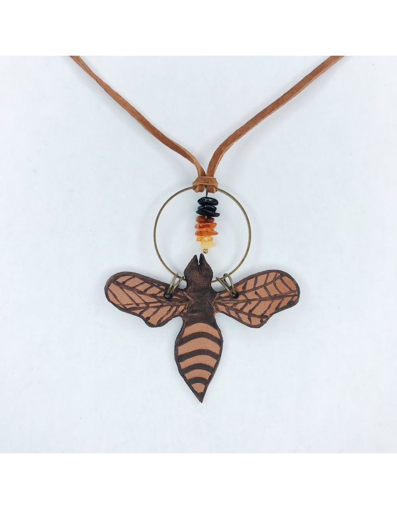 Leather Bee Necklace