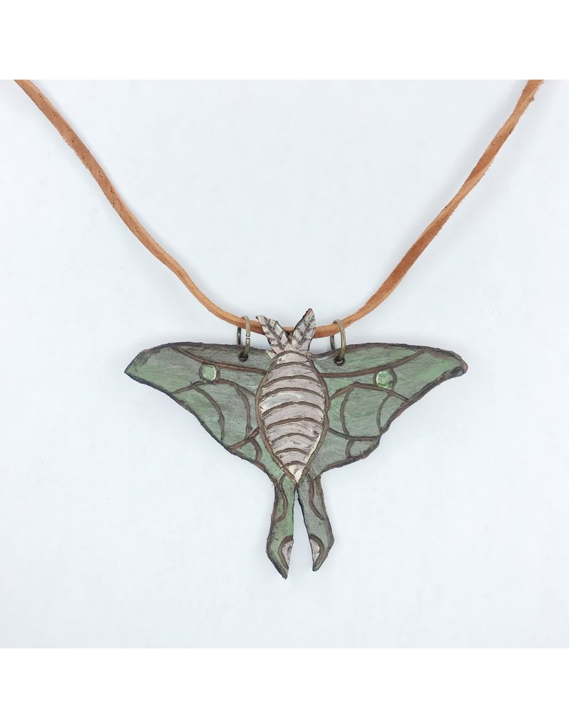 Leather Luna Moth Necklace - Color
