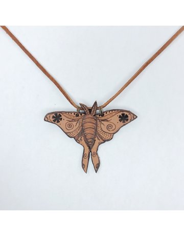 Leather Luna Moth Necklace - Natural