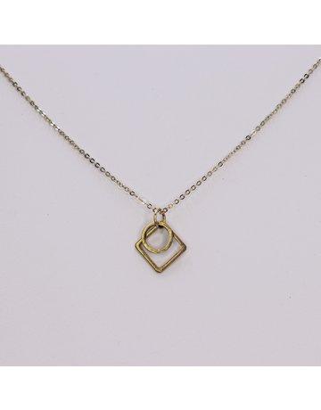 Round Geo Brass Necklace