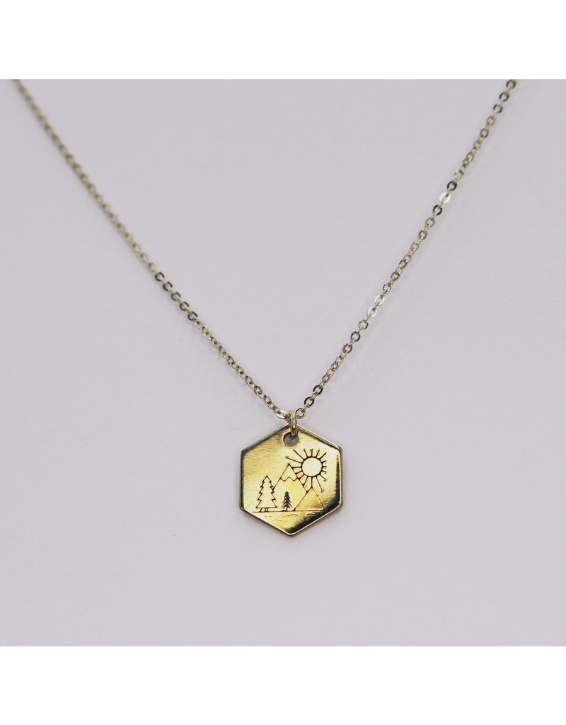 Brass Stamped Great Outdoors Necklace