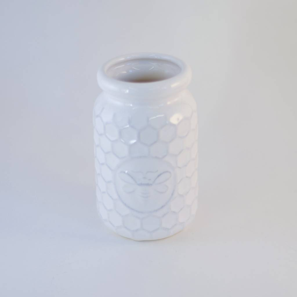 White Ceramic Honeybee Bottle