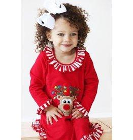 Be Mine Be Mine Reindeer Applique Girl's Gown - Baby
