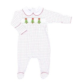 Magnolia Baby Magnolia Baby O' Christmas Tree Smocked Collared Footie