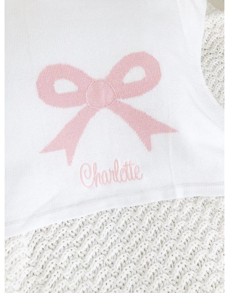 Little English Little English Bow Intarsia Blanket White