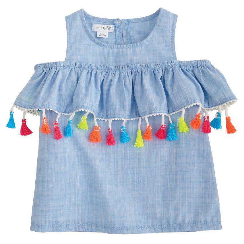 Mud Pie Mud Pie Chambray Tassel Top