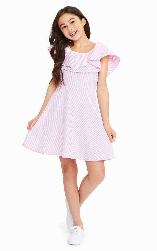 Habitual Girl Habitual Girl Lou Ruffed Striped Dress