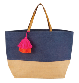 Mud Pie Mud Pie Color Pop Jute Tote Bag