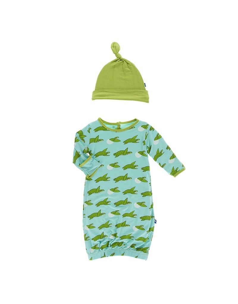 KicKee Pants Kickee Pants Print Layette Gown/Single Knot Hat Set