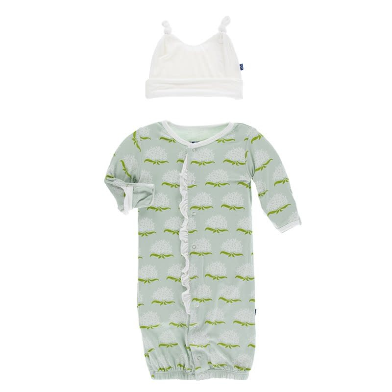 KicKee Pants Kickee Pants Print Ruffle Layette Gown Converter/Double Knot Hat Set