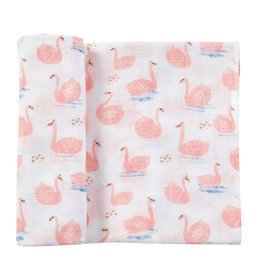 Mud Pie Mud Pie Muslin Swan Swaddle Blanket